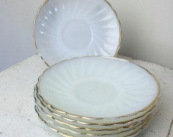 Vintage Anchor Hocking Milk Glass Saucers Set of 6