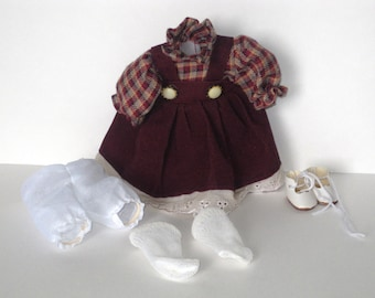 Vintage Doll Outfit For 10 inch Dolls - No Tag - Dress - Bloomers - Socks - Shoes - Display - Party - Excellent Condition