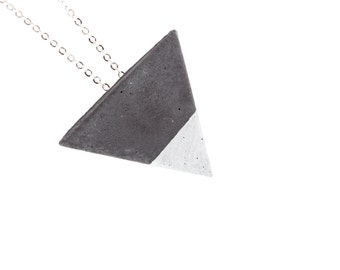 Geometric concrete necklace, geometric necklace, minimal necklace, triangle necklace, triangle black necklace,silver color concrete necklace