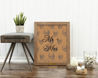 Mr and Mrs Print, Alternative Wedding gift, customised wedding present, skulls engagement present, personalised wedding gift