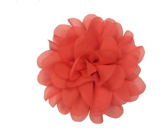 "3.75"" Scallop Flower Head, Wholesale Scallop Hair Flowers for Flower Headbands, Lot of 1 or 2, Coral"