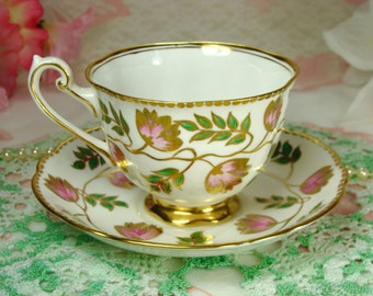 Beautiful Vintage Teacup & Saucer with Pink and Gold Flowers by Grosvenor Porcelain of England
