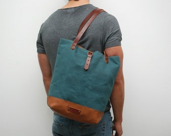 Tote bag waxed canvas, atlantic color,  handles and closures in leather