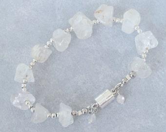 Beaded Bracelet, Crystal Bracelet, Chunky Bracelet, Gemstone Bracelet, Bohemian Bracelet, Silver Bracelet, Modern Bracelet, Simple Bracelet