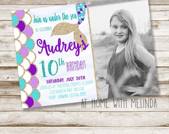 Mermaid Birthday Invitation, Photo Invitation, Mermaid Invitation, Birthday Party, Under the Sea, Purple and Teal, 5x7 DIGITAL FILE ONLY