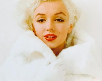 "Marilyn Monroe in White Fur Coat Poster Print (16""x20"") Print Only or Framed in 1"" Black Wood Frame"