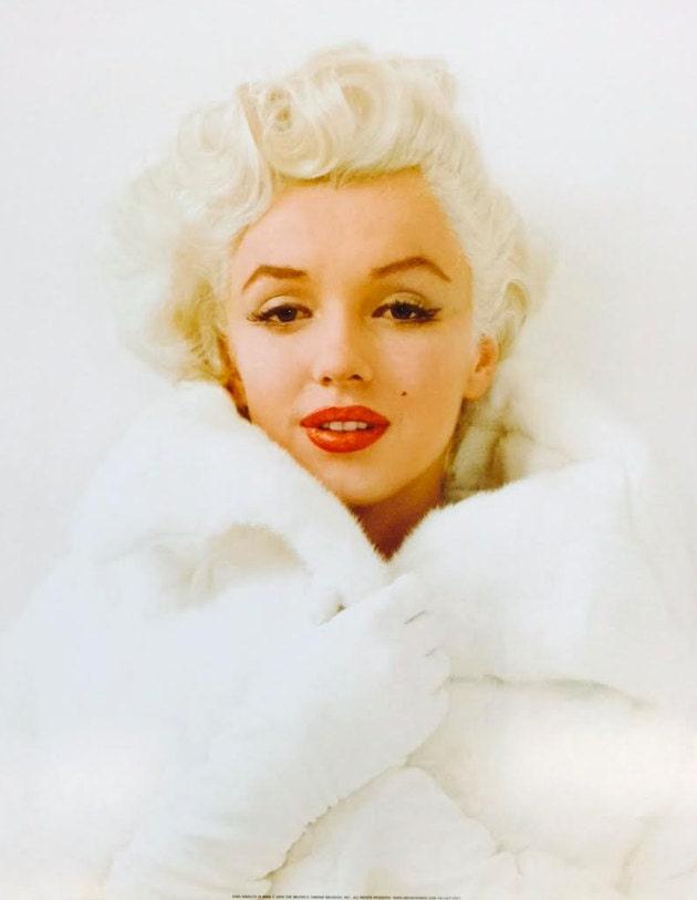 marilyn monroe in white fur coat poster print 16x20 print only or framed in 1 black wood frame