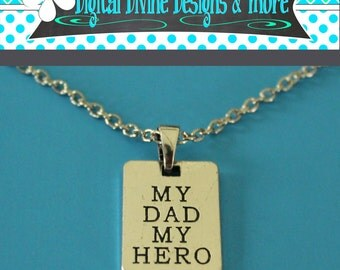 My Dad My Hero Necklace Chain Father's Day Gift