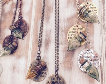 May You always have a shell in your pocket and sand between your toes charm-necklace w/ carolina sand