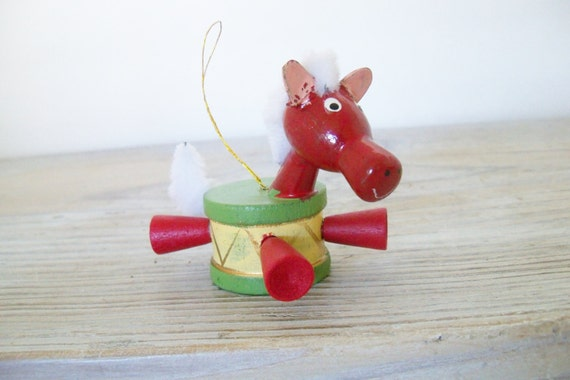 Vintage Wood Christmas Horse Ornament 1970s Made in Taiwan Colorful Wooden Horse in a Christmas Drum Christmas Tree Decor