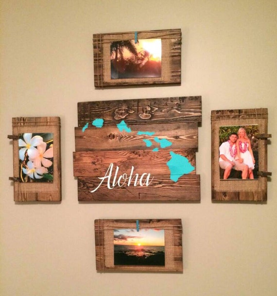 Reclaimed wood wall art aloha hawaiian island by tinhatdesigns for Hawaiian home decorations