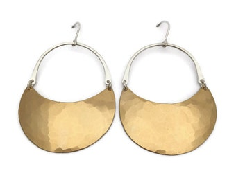 Large Brass and Silver Crescent Moon Hoops >>> Bold Mixed Metal Brass and Silver Dangle Earrings >>> Organic Hammered Texture, Curved Design