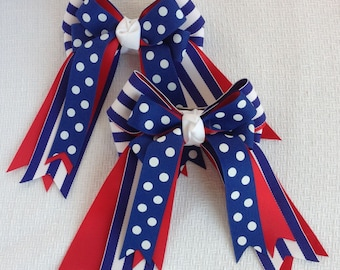 Hair Bows for Horse Shows/Hair Accessory/Equestrian Clothing/Patriotic Red White Blue
