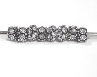 Eight Silver Plated Large Hole, European Style Beads with Rhinestones