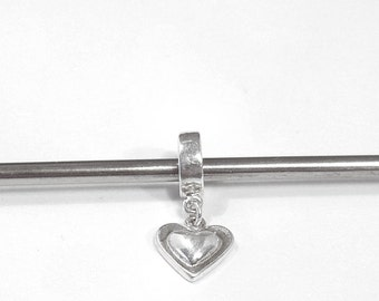 Sweet Sterling Silver Heart Charm,  Large Hole, European-Style