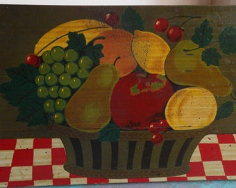 Vintage Primitive Wooden Fruit Plaque!