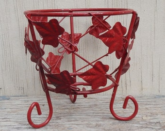 Retro Red Metal Planter!