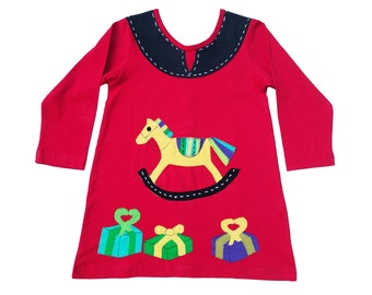 Christmas Rocking Horse Dress in Red & Black