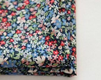 "Lawn Fabric - Floral Pattern Lawn Fabric ""Wild Bouquet"" Blue Flower by Half Yard - 55"" Width"