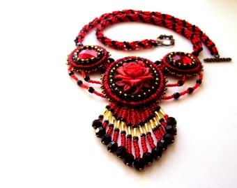Beadwork Rose Cameo Dangle Pendant Necklace Bead Embroidered  Black & Red Necklace   Ready to ship