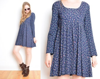 vintage 90s dress navy blue floral print vines babydoll dress grunge 1990s clothing mini dress small S