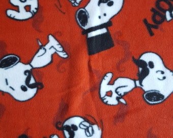 Remnant - Gentleman Snoopy Fleece Fabric 1yd 24in
