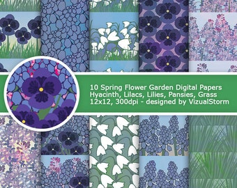 Garden Flowers Digital Paper Printable Floral Background Patterns Pansy Lily Lilac Hyacinth Grass Summer Gardening Scrapbooking Paper Pack