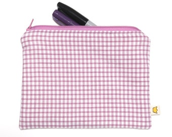 Pencil pouch, zipper makeup pouch, checkered pencil case, white and purple zippered pouch