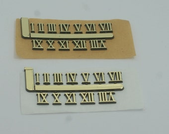 Stick on clock numbers roman numerals 10mm art craft dial sticking gold adhesive 1 set