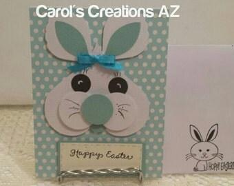Handmade Easter Card  / Handmade Easter Bunny Card / Handcrafted Bunny Card / Easter Card / Bunny Rabbit Card