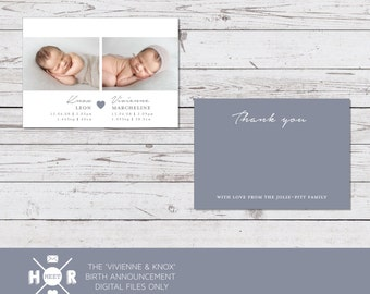 Printable - The 'Vivienne & Knox' Twins Birth Announcement | Baby Thank You Card | Photo Card