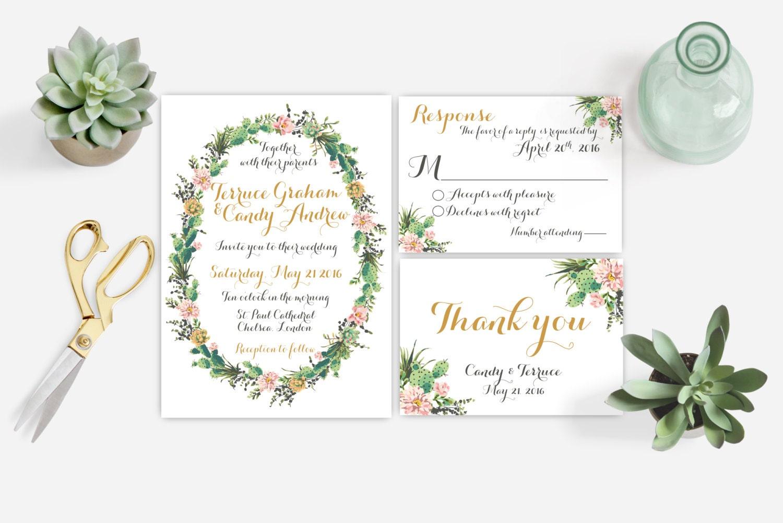 Watercolor succulent wedding invitation by momentidesignstudio