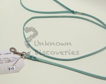 Skinny Braided Turquoise Leather Dog Leash - Small Dog - Small Pet