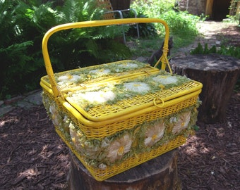 Vintage Philippines Yellow and Green Floral Picnic Basket Filled with Plastic Dining Ware / Lined with Vinyl