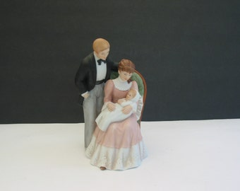 Vintage Porcelain Figurine Of Father And Mother Holding Baby On Her Lap