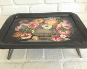 Vintage Painted Metal floral design TV Tray with legs