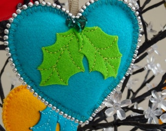 Handmade, hanging, felt  heart, christmas decoration