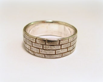 Silver brick ring / wall ring