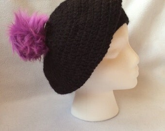 Women black hat with purple pom pom
