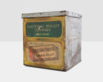 national biscuit company container, uneeda biscuit crate, metal biscuit crate, national biscuit company tin container, advertising tin