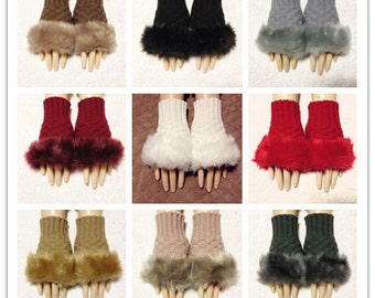 Fine Yarn Fingerless Gloves With Fur Good Quality