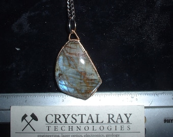 Spectralite Pendant Set in 14k gold Wire Wrapped Setting