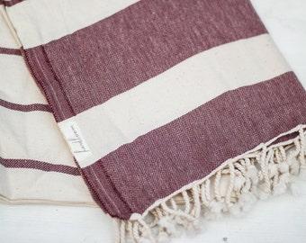 SALE Turkish Towel | Turkish Beach Towel Burgundy Earthy Bath Towel Cotton Yoga Spa Throw Bridesmaid Gift Beach Throw Travel Throw TEA05