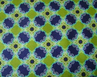 Blue and Green Flower Pattern  Cotton Fabric Sold by the Yard