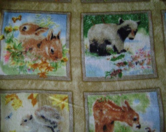 Four Seasons Animal Patch AntiPill Fleece Fabric Sold by the Yard