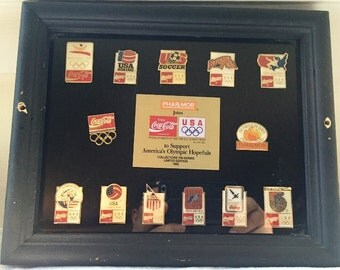 Vintage 1992 Limited Edition Coca Cola Olympic Phar Mor Pin Set With Display Case NIP