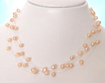 3 Strand Genuine Freshwater Pink Pearl Illusion Floating Necklace