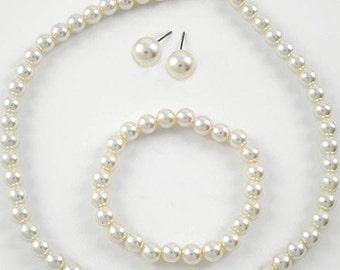 "3pc Bridal Classic 16-18"" 8mm Faux Ivory Pearl Necklace Bracelet Earring Set"