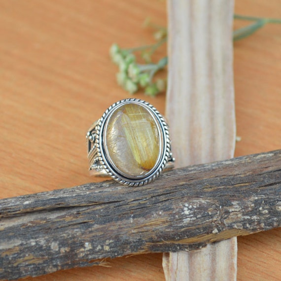 African Golden Yellow Rutile Quartz Ring, Solid 925 Sterling Silver Ring, November Birthstone Ring Jewelry, Yellow Gemstone Ring Size 6.5