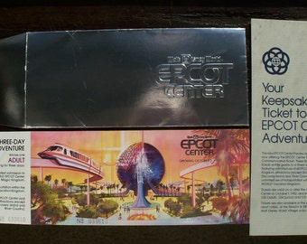 Vintage Walt Disney World Epcot Center Opening Day UNUSED Adult Commemorative 3 Day Ticket, Envelope and Pamphlet - October 1, 1982